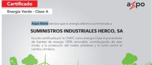 Certificado Herco energía renovable