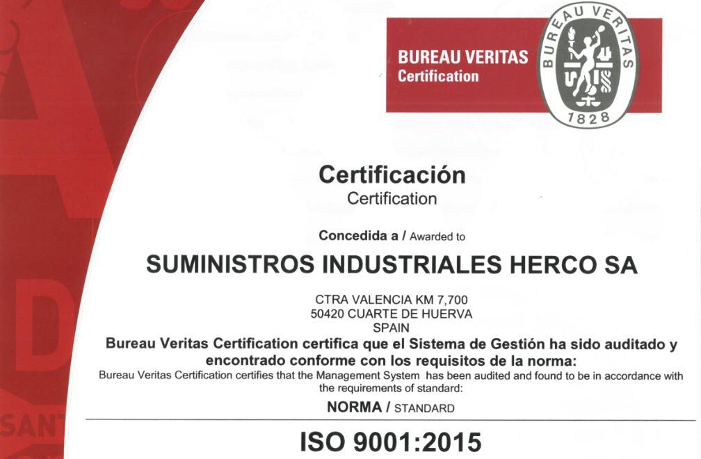 Herco se recertifica bajo la norma de calidad ISO 9001:2015