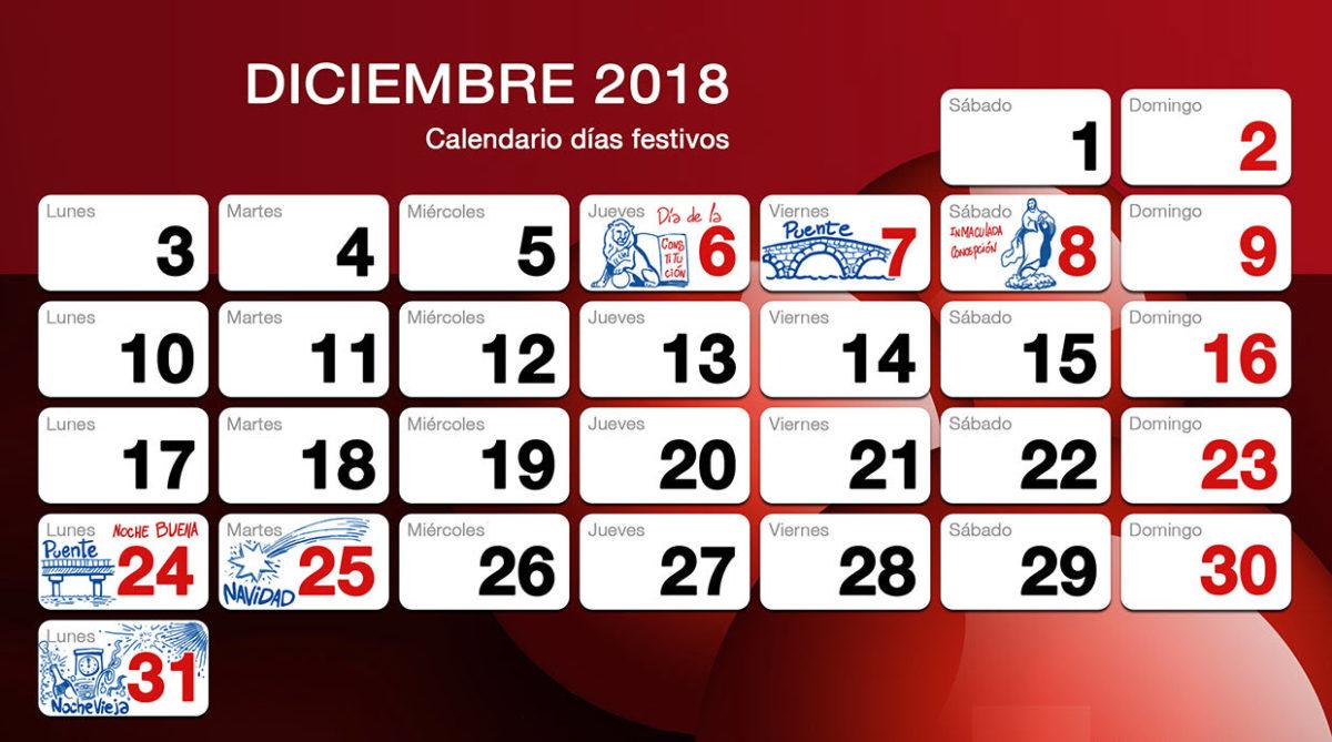 Calendario Diciembre 2018 Con Festivos.Dias Festivos De Diciembre 2018 En Suministros Herco