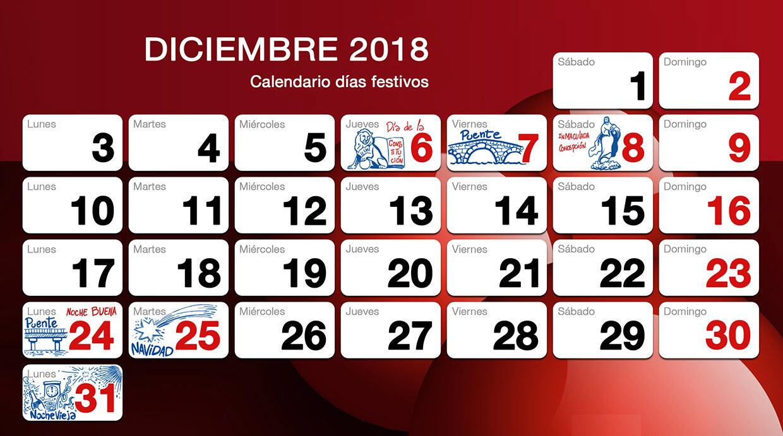 Festivos de diciembre 2018 en Herco