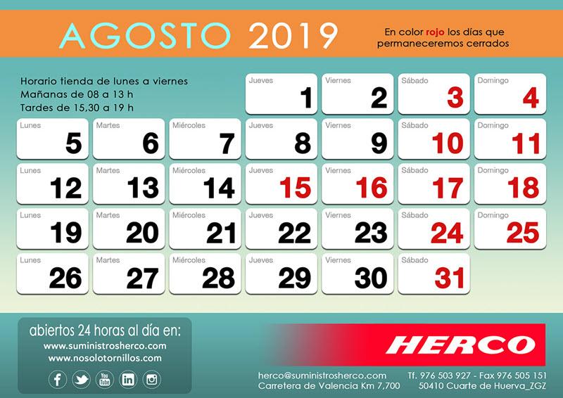 Horario de verano 2019 en Herco